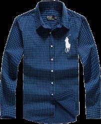 Camisa Social Polo Ralph Lauren Masculina Xadrez Azul Marinho