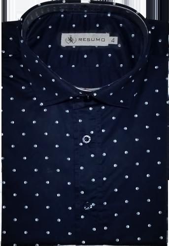 4a3ebd39bd Camisa Social Resumo Masculina Azul Marinho Estampada - ESTILUXO ...