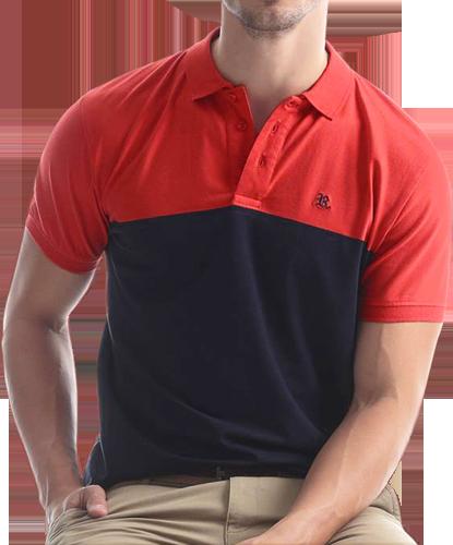7cda8b34e6 Camisa Polo Resumo Masculina Vermelha Azul Marinho - ESTILUXO Outlet ...
