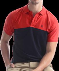 Camisa Polo Resumo Masculina Vermelha/Azul Marinho