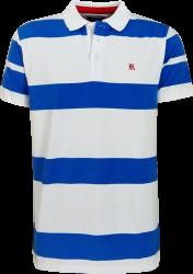 Camisa Polo Resumo Masculina Listrada Azul/Branca