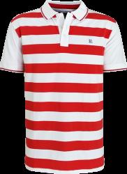 Camisa Polo Resumo Masculina Listrada Vermelha/Branca