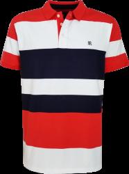 Camisa Polo Resumo Masculina Vermelha/Branca/Marinho