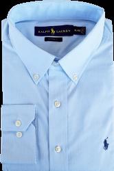7512cdcdadb69 Camisa Social Polo Ralph Lauren Masculina Listrada Azul Claro Branca