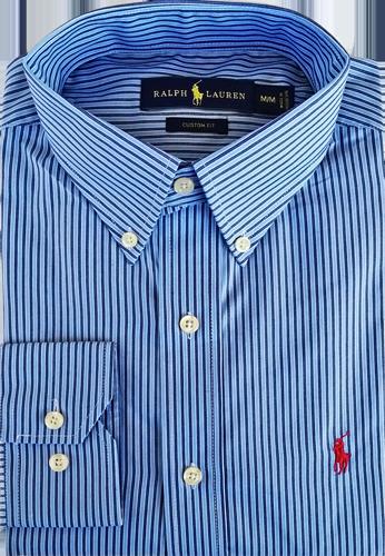 e4b39f1acf39a Camisa Social Polo Ralph Lauren Masculina Listrada Azul Claro Azul Marinho
