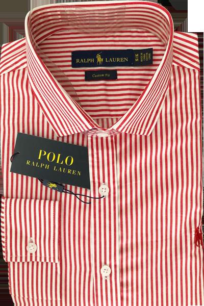 Camisa Social Polo Ralph Lauren Masculina Listrada Vermelha Branca ... b0b6bda94292c