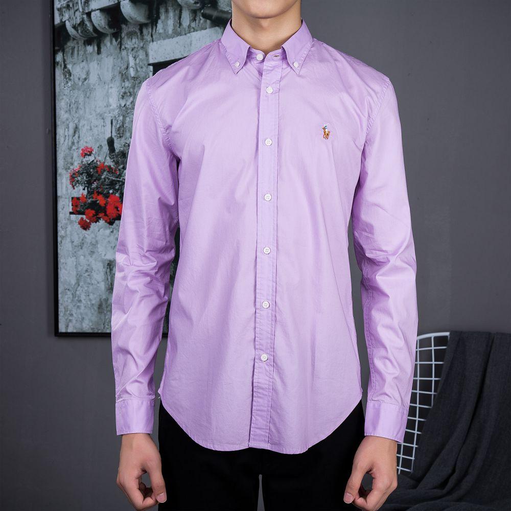 Camisa Social Polo Ralph Lauren Masculina Oxford Lilás - ESTILUXO ... 69f87716177