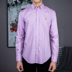 e536256bdb01b Camisa Social Polo Ralph Lauren Masculina Oxford Lilás