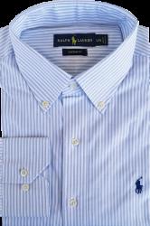 Camisa Social Polo Ralph Lauren Masculina Listrada Branca/Azul