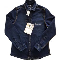 Camisa Jeans Masculina Azul Escuro