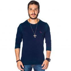 Camiseta Revanche Manga Longa Masculina Azul Marinho