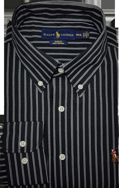 Camisa Social Polo Ralph Lauren Masculina Listrada Preta Branca ... 784d014712e
