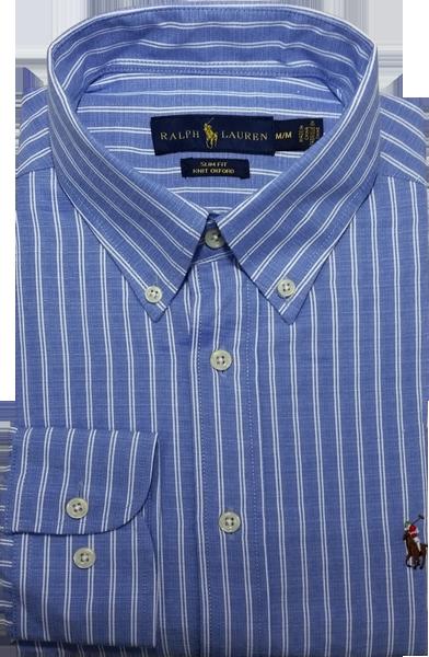 Camisa Social Polo Ralph Lauren Masculina Listrada Azul Claro Branca ... c90a10c15b0