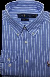 Camisa Social Polo Ralph Lauren Masculina Listrada Azul Claro