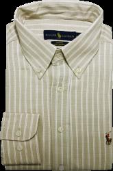 Camisa Social Polo Ralph Lauren Masculina Listrada Areia