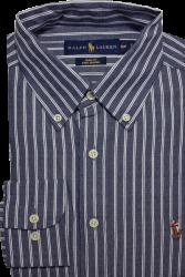 Camisa Social Polo Ralph Lauren Masculina Listrada Azul Escuro