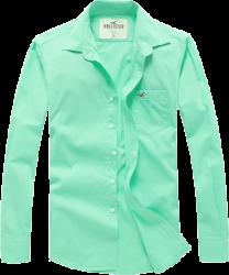 Camisa Social Hollister Masculina Verde