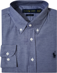 Camisa Social Polo Ralph Lauren Masculina Estampada Azul