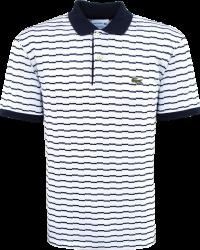 Camisa Polo Lacoste Masculina Listrada Branca/Azul Marinho