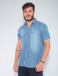 Camisa Jeans Revanche Manga Curta Masculina Listrada Azul/Branca