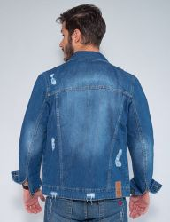 Jaqueta Jeans Destroyed Revanche Masculina Azul Escuro