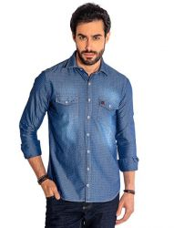 Camisa Jeans Revanche Masculina Azul
