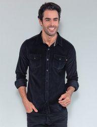 Camisa Cotelê Revanche Manga Longa Masculina Preta