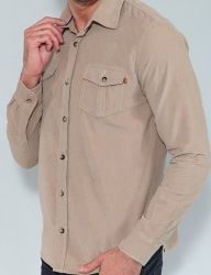 Camisa Cotelê Revanche Manga Longa Masculina Bege