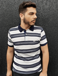 Camisa Polo Lacoste Masculina Listrada Azul Marinho/Branca