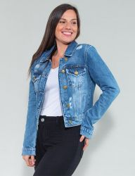 Jaqueta Jeans Destroyed Revanche Feminina Azul