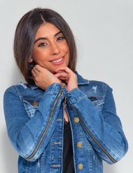 Jaqueta Jeans Destroyed Revanche Feminina Azul