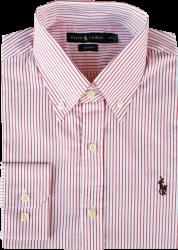 Camisa Social Polo Ralph Lauren Masculina Listrada Vermelha/Branca
