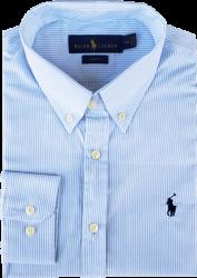 Camisa Social Polo Ralph Lauren Masculina Listrada Azul Claro/Branca