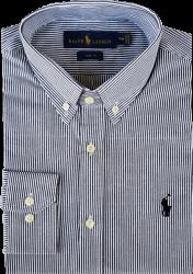Camisa Social Polo Ralph Lauren Masculina Listrada Preta/Branca