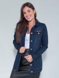 Jaqueta Maxi Jeans Confort Revanche Feminina Azul Escuro