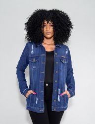 Jaqueta Maxi Jeans Revanche Feminina Azul Escuro