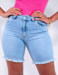 Bermuda Jeans Revanche Feminino Azul Claro