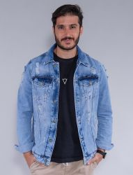 Jaqueta Jeans Destroyed Revanche Masculina Azul Claro