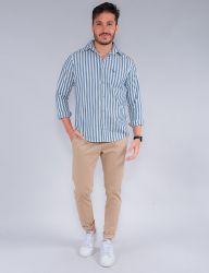 Camisa Revanche Manga Longa Masculina Listrada Azul/Branca