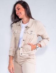 Jaqueta Jeans Revanche Feminina Caqui